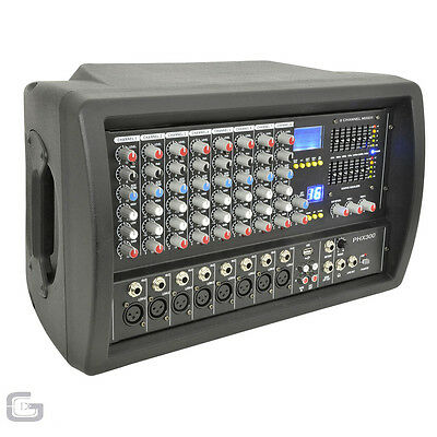 QTX PHX300 300W Live Band Mixer Amplifed 8 Channel PA Head Amp With 7-Band EQ