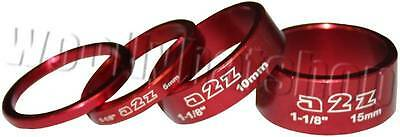 """A2Z CNC 1 1/8"""" Ahead headset spacers 3mm, 5mm, 10mm and 15mm RED"""