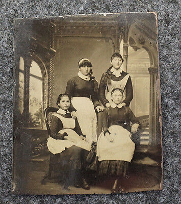 """Antique Tintype of 4 Young Girls House Servant Maids 3"""" x 2 1/2"""""""