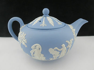 Vintage Wedgwood Blue Jasper Ware Teapot With Classical Scenes England 1959