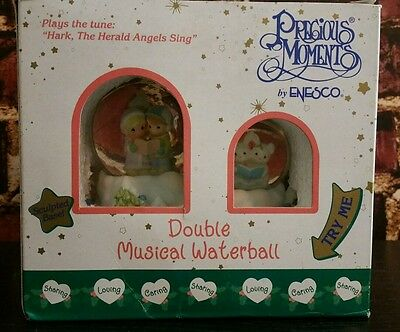Precious Moments By Enesco Double Musical Waterball Hark The Hearld Angels Sing