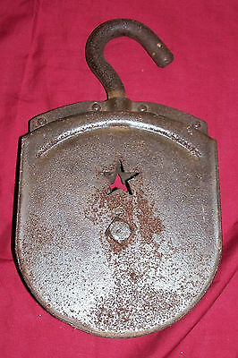 Antique Water Well Pulley for Display Décor Old Vintage Star Hand Rope Primitive