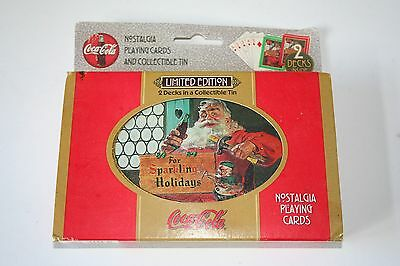 Limited Edition Coca-Cola 2 Decks Playing Cards W/tin & Outer Sleeve 1998 Santa