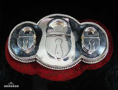 Victorian / Edwardian Novelty Silver Plated Triple Padlock Inkwell Desk Stand