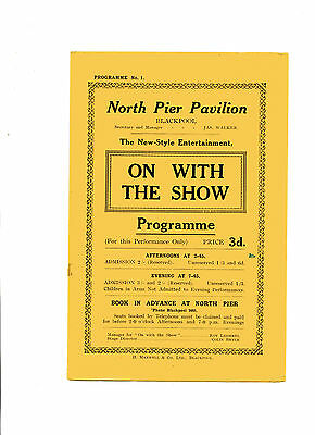 'ON WITH THE SHOW' BLACKPOOL NORTH PIER 1920s PROGRAMME