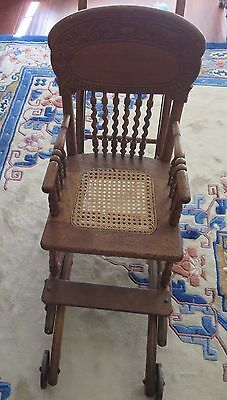 ANTIQUE Oak High Chair Stroller, Carved Wood Back and Wicker Seat