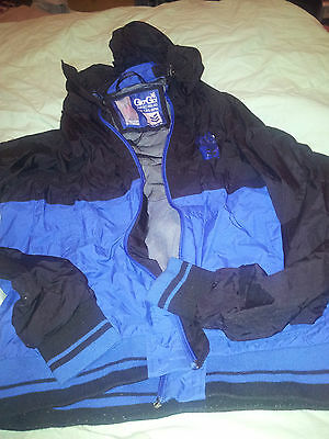 Boys Mans Teenage Gio-Gio  Waterproof Jacket Size Med Blue/black With Hood