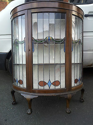 Bow Fronted Display/china Cabinet Dark Oak With Stained Glass Unusual Antique