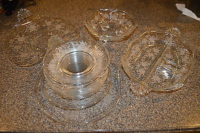 Fostoria Willowmere Etched Roses 14 Piece Lot  Perfect!