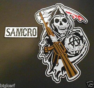 """2  Patches Samcro & Large Grim Reaper-Death Angel 11"""" X 7 1/2"""" Patch Sew Or Iron"""