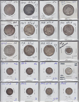 Lot of 20 Miscellaneous Newfoundland Coins