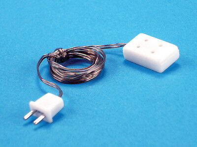 Dollhouse Electric Lighting Petite Double Receptacle With Plug & Wire 4pc 44009