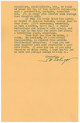 J.D. Salinger Typed Letter Signed: Reclusive author discusses Catcher in the Rye
