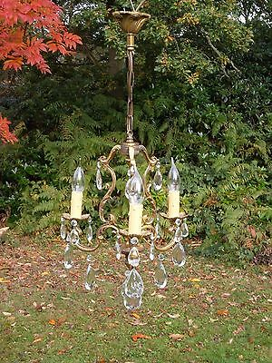 unusual vintage French 3 arm bronze cage Chandelier(C800)