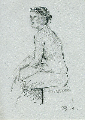 ie ACEO PRINT LIMITED EDITION GRAPHITE FEMALE NUDE STUDY 130001 Dessin Crayon Nu