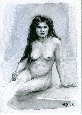 ie ACEO PRINT LIMITED EDITION WATERCOLOUR FEMALE NUDE STUDY 130078 Nu Aquarelle