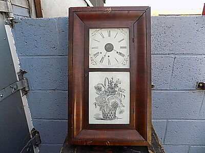 Antique~Chaucey~Jerome~Wall Clock~American ~ Mahogany~Veneer~Spare Or Project