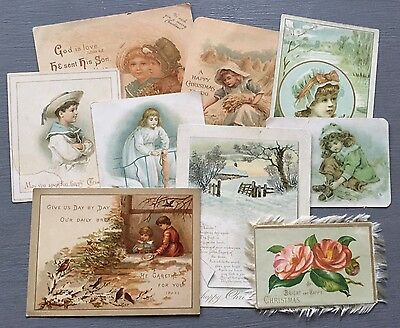 Lovely Lot Collection Of Antique Vintage Christmas Greeting Calling Cards