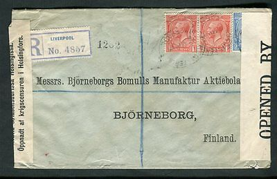 1917 Liverpool Registered Double Censor to Finland London Hooded Transit Cancel
