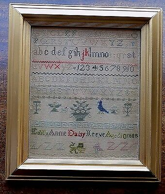 Victorian Sampler Antique Old Fabric Embroidered Picture Edith Reeve Aged 10 vgc