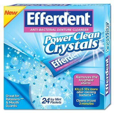 Efferdent Power Clean Crystals Denture Cleaner 24 Icy Mint Packets