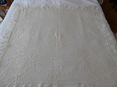 Antique French Crochet Lace Tablecloth / Curtain Panel / Bedspread / Throw