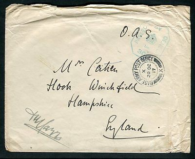 """1917 GB Military Cancel & Censor on Free """"The Sebian Relief Fund"""" Cover"""