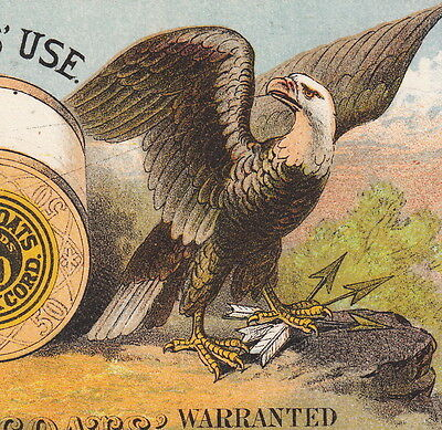 1879 JP Coats Sewing Thread Calendar Advertising Trade Card Patriotic Eagle Lion