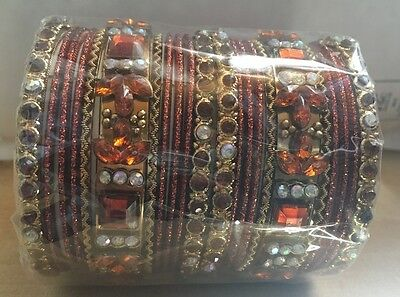 Set Of 22 Brown Indian Bangles Wedding Party Prom Size 2.8