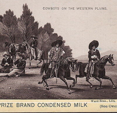 "1890's ""Cowboys on Western Plains"" Poker Horse Rifle Photo Milk Advertising Card"