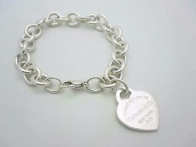 "Please Return To Tiffany & Co. Silver Heart Tag Bracelet 7.5"" EXCELLENT"