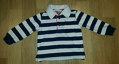 John Lewis baby Boys 9-12 months navy and white striped t-shirt. Great condition