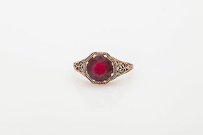Estate 2ct Natural RUBY 14k Rose Gold Filigree Ring