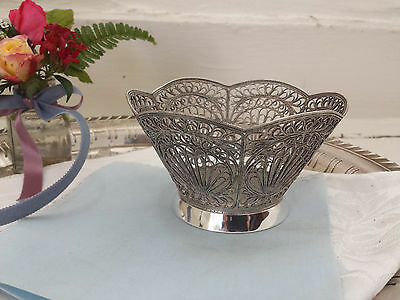 Vintage Russian Silver Delicate Filigree Candy Bowl…STUNNING...
