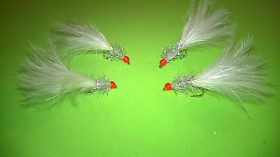 4 x Hothead Uv Fry White & Silver Size 10 & 12 Fly Fishing Trout Flies