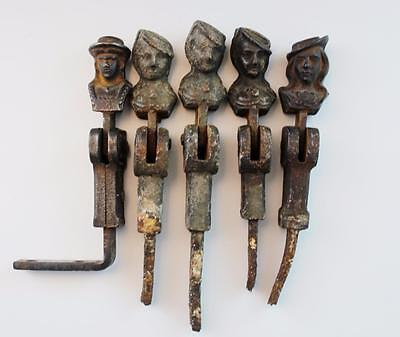Five Antique Cast Iron Window Shutter Stoppers Figural French Authentic