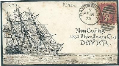GB 1879  Cover front only,with drawing of ship, franked 1d red Pl.209.