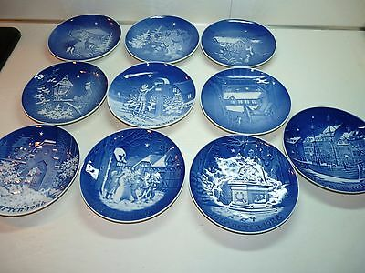 Complete Run 1980 - 1989 Bing and Grondahl Blue Christmas Plates 7""