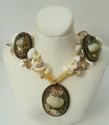 Vtg Real Seashell Lucite Encased Shells Necklace Earring Set Sea Shell