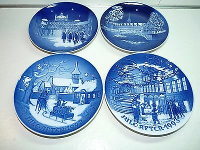 "Bing and Grondahl 1990 1991 1992 1993 7"" Blue Christmas Plates"
