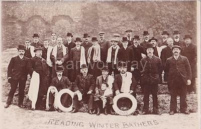 Rp Reading Winter Bathers Swimming Club Real Photo Berkshire 1905