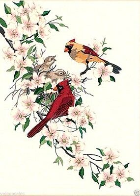 """Dimensions Crewel Embroidery Kit 11"""" x 15"""" ~ CARDINALS IN DOGWOOD #01516 Sale"""