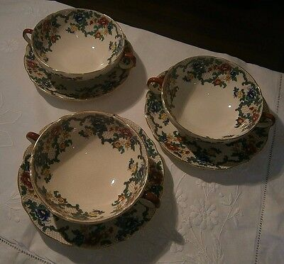 1 Royal Cauldon Victoria Soup Coupe and Saucers c1940 have 3 for sale