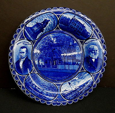 Dark Blue Rowland & Marsellus Rolled Rim Plate, Longfellow's Birthplace & More