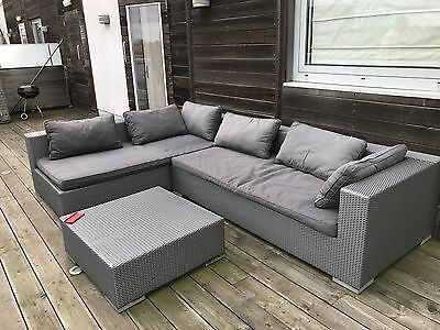 Outdoor Corner Sofa with weatherproof cushions and table