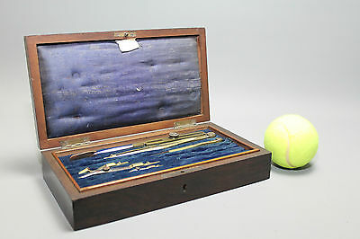 Antique Drawing Set in Original Mahogany Case - Incomplete
