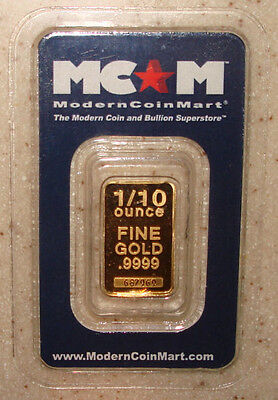 1/10 Oz. .9999 Fine Gold Bar Sealed with Assay Serial # Sunshine Mint MCM Gift