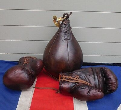 Antique Vintage Leather Boxing Glooves And Leather Boxing  Speedball