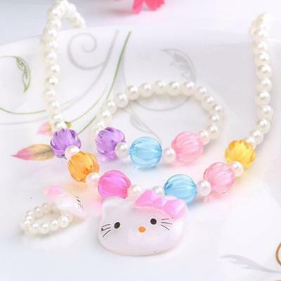 Candy Beads Girls Kids Jewellery Set Hello Kitty Bracelet & Necklace & Ring