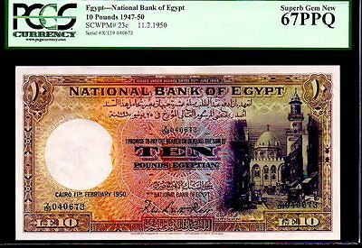 "EGYPT P23c 1950 ""MOSQUE OF SULTAN"" 10 EGYPTIAN POUND PCGS 67PPQ! FINEST KNOWN!"